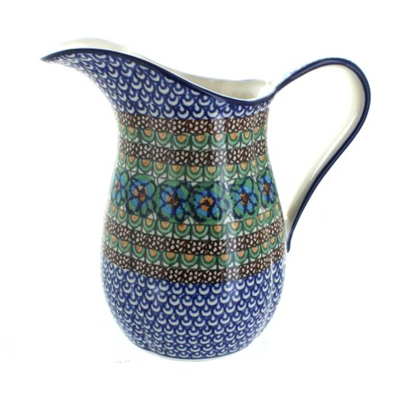Polish Pottery Mardi Gras Pitcher
