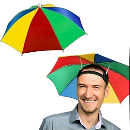 4 Pack Rainbow Umbrella Hat Cap Hands Free with Head Strap for Sun