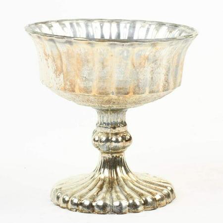 Koyal Wholesale 4.5-Inch Burnt Gold Glass Compote Bowl Pedestal Flower Bowl Centerpiece Flower Fantasy Leaf Bowl