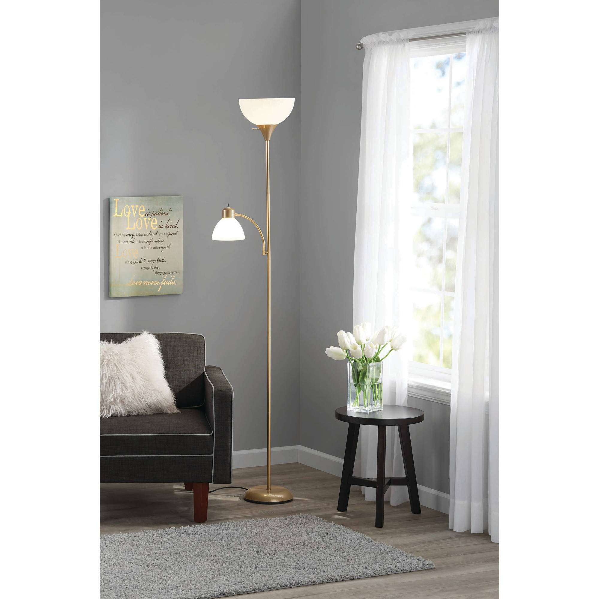 Mainstays Large 72 Combo Floor Lamp With Adjustable Reading Lamp Gold Finish Walmart Com