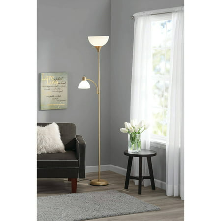 Mainstays 72 Combo Floor Lamp with Adjustable Reading Lamp, Gold Finish