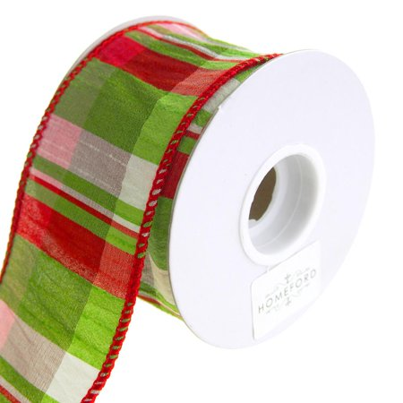 Lime Plaid Wired Dupioni Christmas Holiday Ribbon, 2-1/2-Inch, 10 (Dupioni Bow)