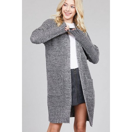 Open Front Cable - Women's Long Cable Chunky Knit Marbled Cardigan Sweater Open Front w/Pockets