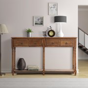 """Buffet Cabinet Sideboard Console Table for Entryway, Storage Cabinet with 2 Drawers, Bottom Shelf, Home Furniture Console Table, Upgrade Solid Wood Frame & Legs, 58""""x11""""x 34"""", Antique Walnut, Q7175"""