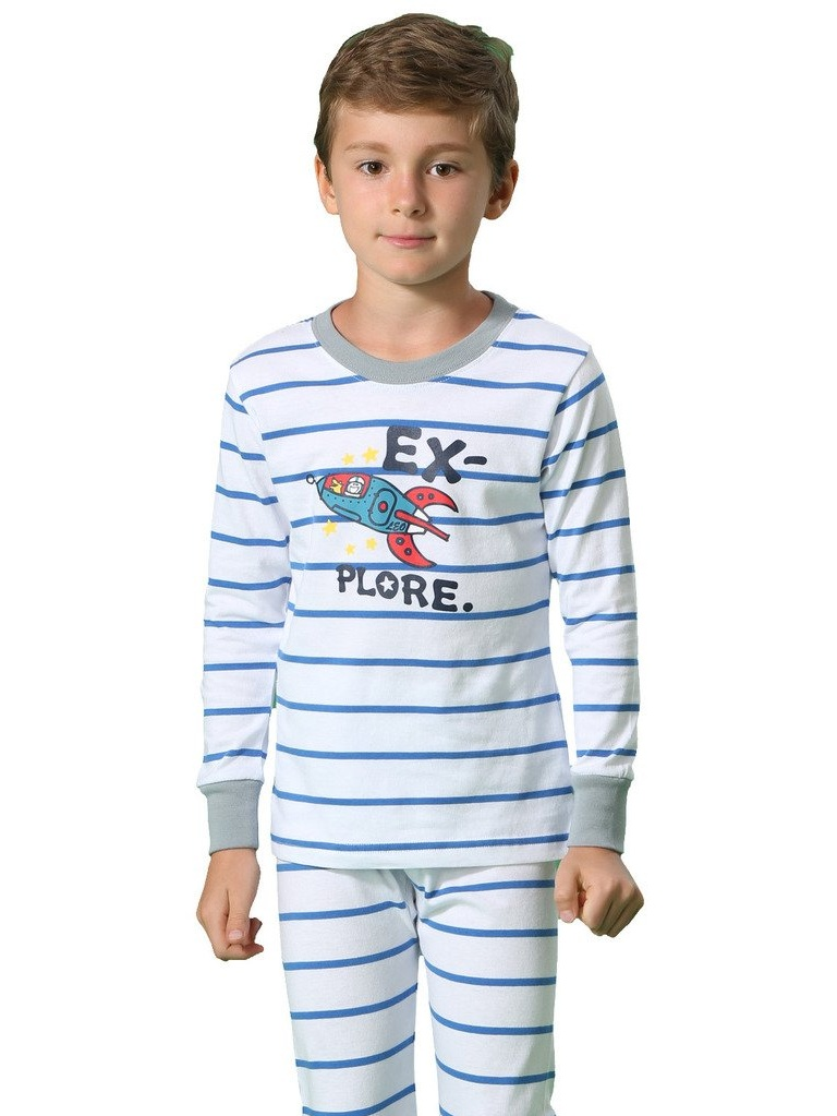 Leo&Lily Big Boys Cotton Stripe Printed Pajamas Sets