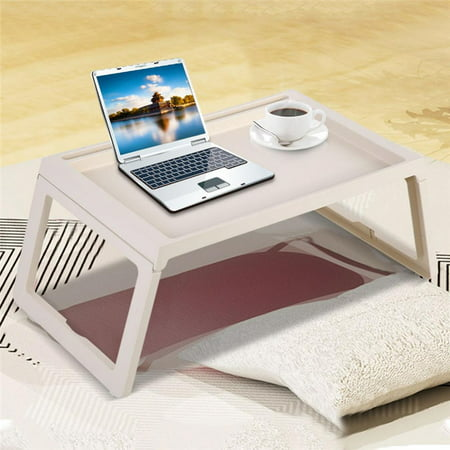 Foldable Laptop Desk Breakfast Serving Bed Tray Table Computer Holder Portable Reading Tray Holder with Foldable Legs Beige](Breakfast Bed Tray)