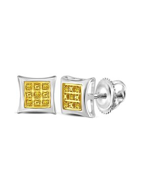FB Jewels Sterling Silver Womens Round Yellow Color Enhanced Diamond Square Kite Stud Earrings .03 Cttw