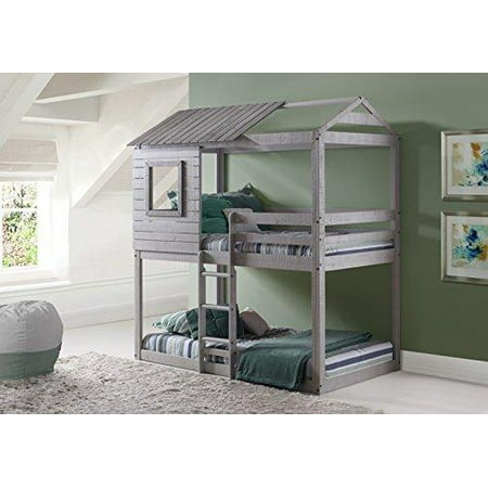 Donco Kids Deer Blind Bunk Loft-Color:Light Grey,Size:Twin/Twin,Style:No Tent ()