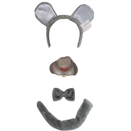 Mouse Animal Kit Mini Nose Mask Ears Headband Tail Bowtie Costume Accessory Set (Halloween Cat Mask And Tail)