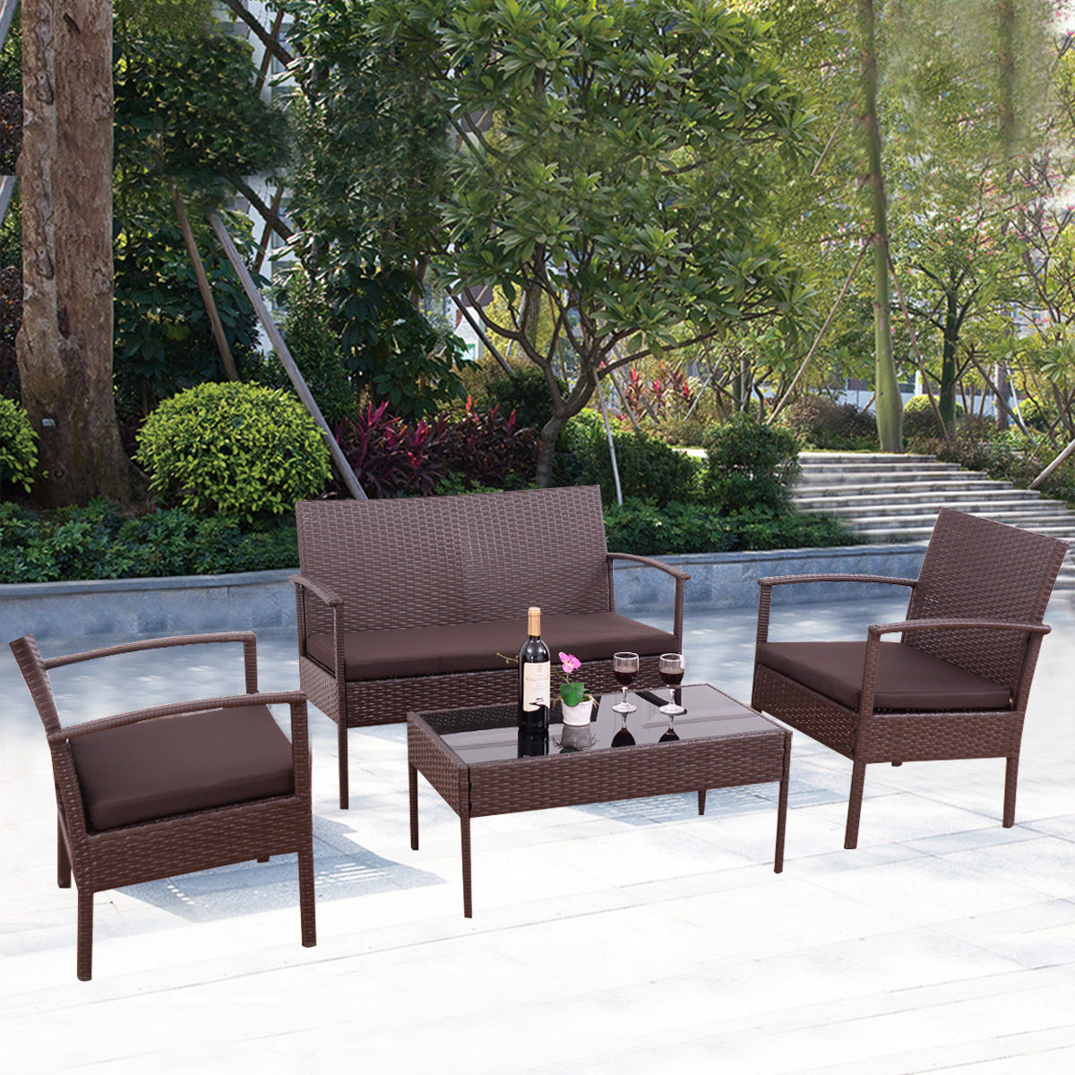 Costway 4 PCS Patio Rattan Wicker Furniture Set Brown Loveseat Sofa  Cushioned Garden Yard