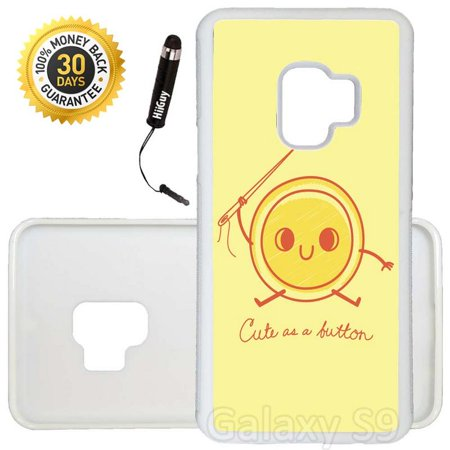 Custom Galaxy S9 Case (Cute as a Button) Edge-to-Edge Rubber White Cover Ultra Slim   Lightweight   Includes Stylus Pen by Innosub