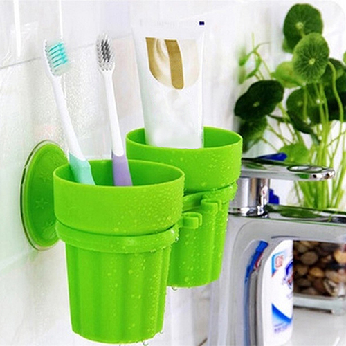 Moderna Fashion Toothbrush Toothpaste Suction Cup Holder Rack Bathroom Wall Organizer