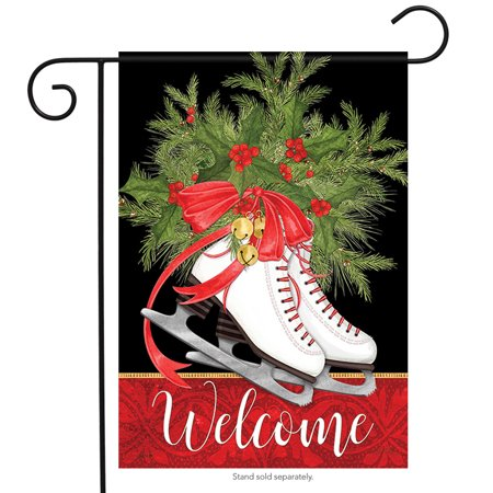 Two Sided Banner Flag - Holly Skates Winter Welcome Garden Flag Holiday Bells 2 Sided Banner 12.5