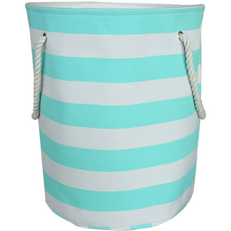 Mainstays Canvas Hamper Spearmint Stripe
