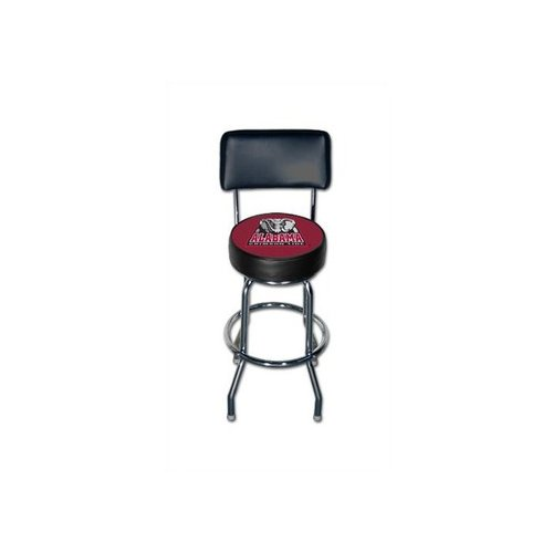 Sports Fan Products NCAA - Chrome Swivel Barstool With University of Alabama Logo & Backrest