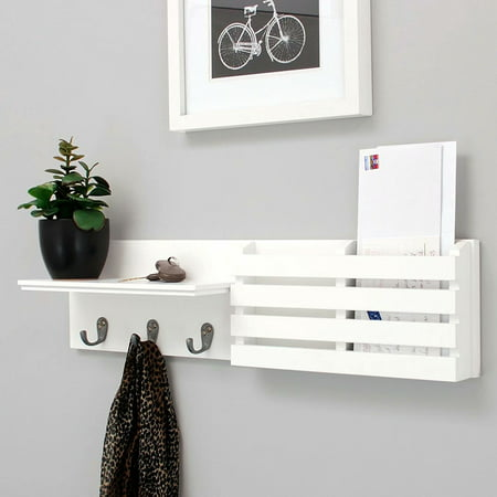 Wall Shelf and Mail Holder with 3 Hooks, 24-Inch by 6-Inch, White