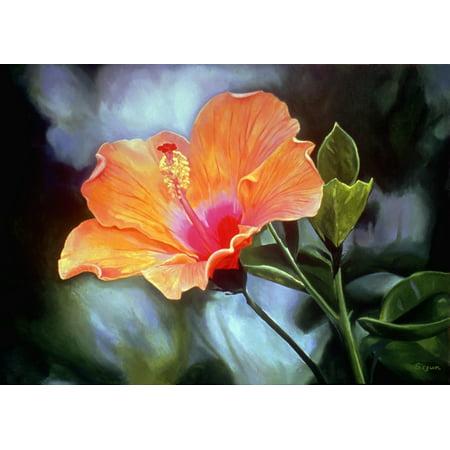 Bright Orange Hibiscus Flower Oil Painting Canvas Art   Fay Biegun  Design Pics  18 X 13