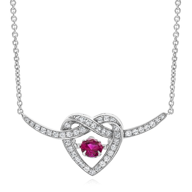 "Created Ruby & White Sapphire Infinity Heart Necklace 18"" by"