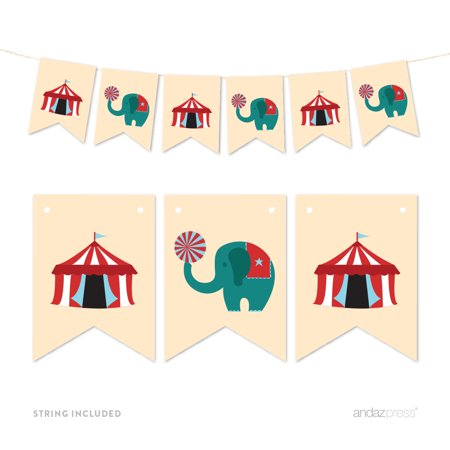 Pennant Party Banner Carnival Tent and Circus Elephant - Circus Carnival Decorations