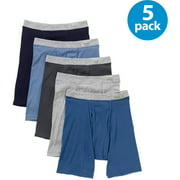 Fruit of the Loom Men's Soft Fabric Covered Waistband Boxer Briefs, 5-Pack