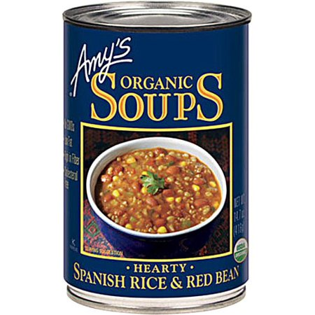 (2 Pack) Amy's Organic Soup Spanish Rice and Red Bean 14.7 fl Oz - Vegan Canned White Bean Soup