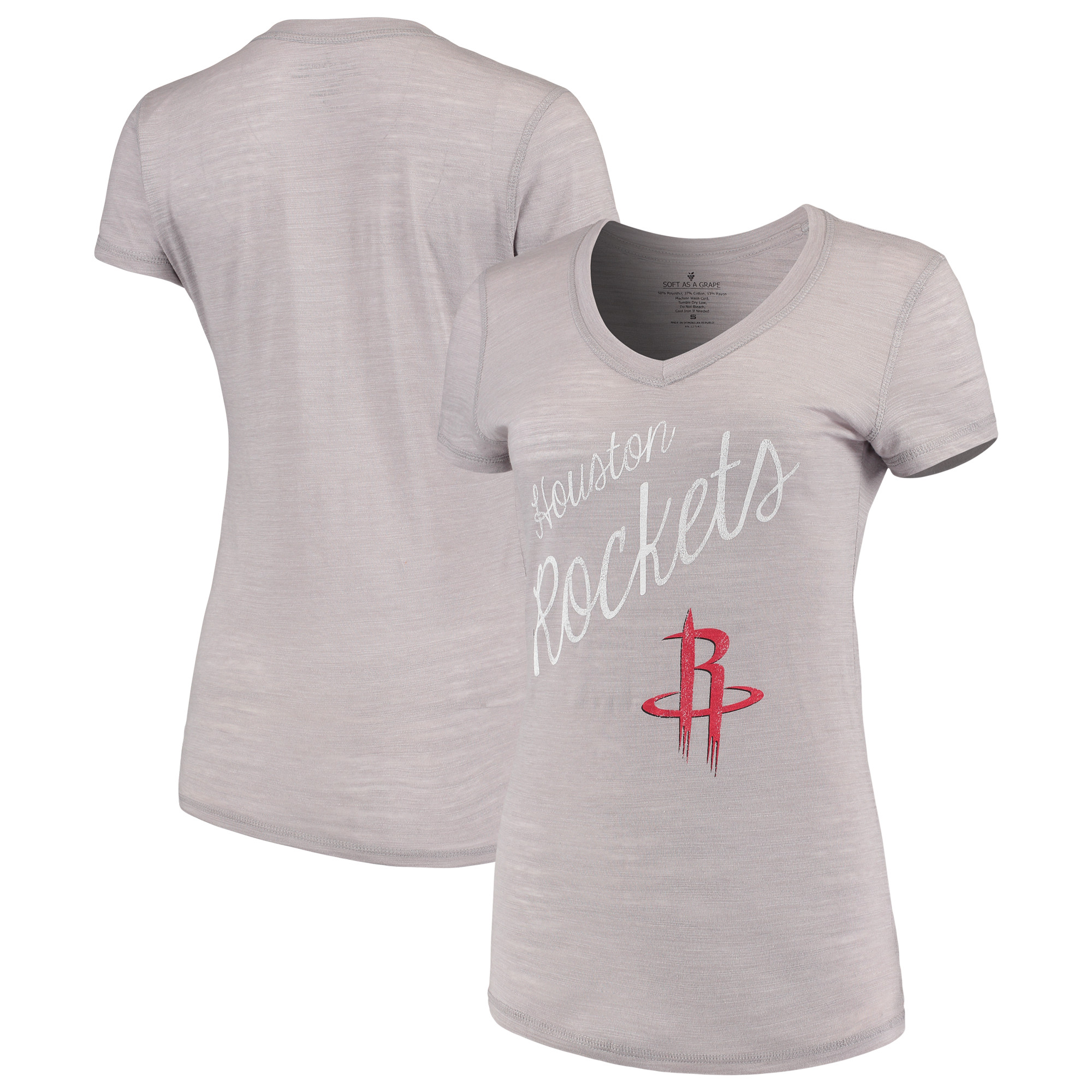 Houston Rockets Soft as a Grape Women's Multicount Tri-Blend V-Neck T-Shirt - Charcoal