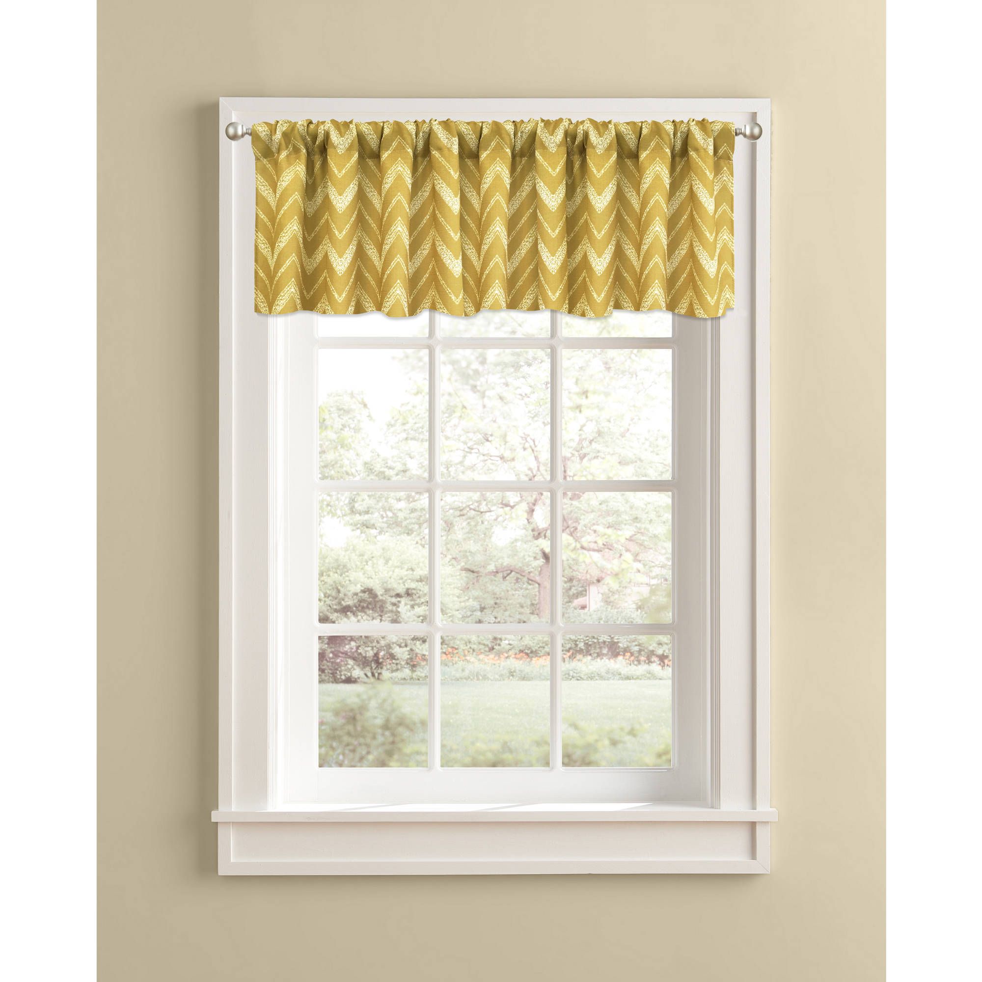 Better Homes and Gardens Gold Chevron Valance, Rod Pocket by Colordrift LLC