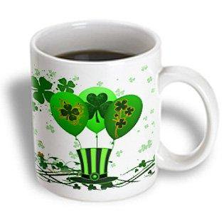 3dRose Green St. Patricks Day balloons, clovers and top hat make this festive design for Irish celebrations, Ceramic Mug, 11-ounce