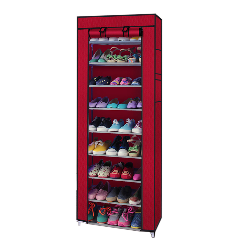 Zimtown 10 Tiers 9 Lattices Shoe Rack Shelf Storage Closet Organizer Cabinet With Cover Wine Red