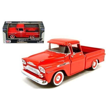 MOTOR MAX 1:24 1958 CHEVY APACHE FLEETSIDE PICKUP TRUCK DIECAST CAR MODEL RED 79311AC-RD