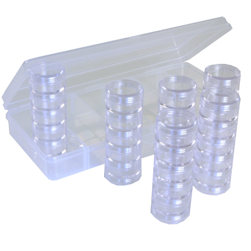 Storage Box Tray 30 Round Stackable Clear Containers Beads Makeup Jewels