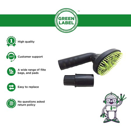 Pet Hair Brush. Vacuum Cleaner Nozzle Attachment Grooming Tool (with Universal Adapter 1 1/4 inch diameter hose size). Genuine Green Label Product