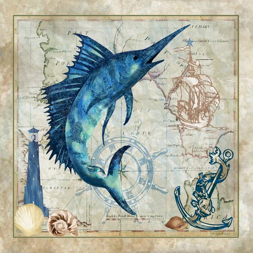 Buy Art For Less Swordfish Graphic Art On Wrapped Canvas Walmart Com Walmart Com