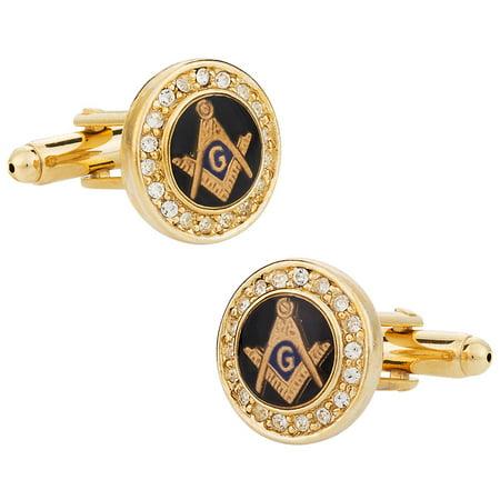 Crystal Gold-Tone Masonic Cufflinks