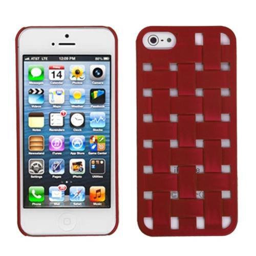 Insten For iPhone SE 5 Basket Red Weave Case Design Criss-Cross Slim Hard Cover