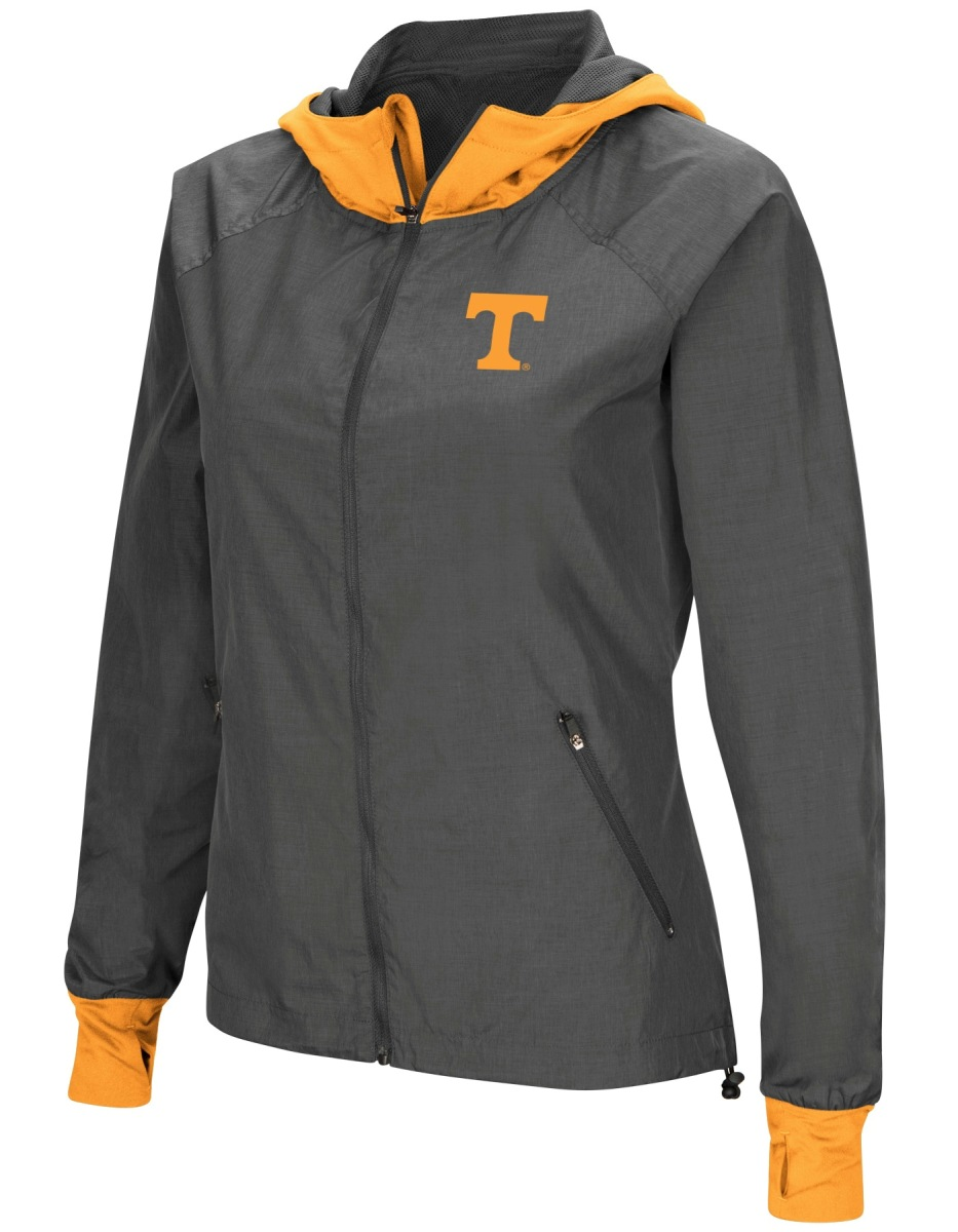 "Tennessee Volunteers NCAA Women's ""Backside"" Full Zip Hooded Charcoal Jacket by Colosseum"