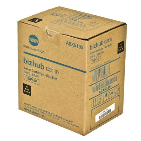 OEM Konica Minolta TNP51K (A0X5135) Toner Cartridge, BLACK, 6K YIELD - for use in Konica Minolta BIZHUB C3110