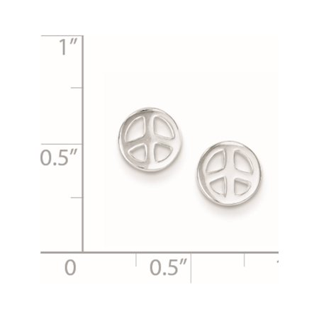 925 Sterling Silver Peace Sign Post (7x7mm) Earrings - image 1 de 2