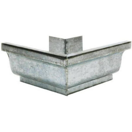 Gutter Outside Mitre, Mill Finish Galvanized Steel, 5-In.