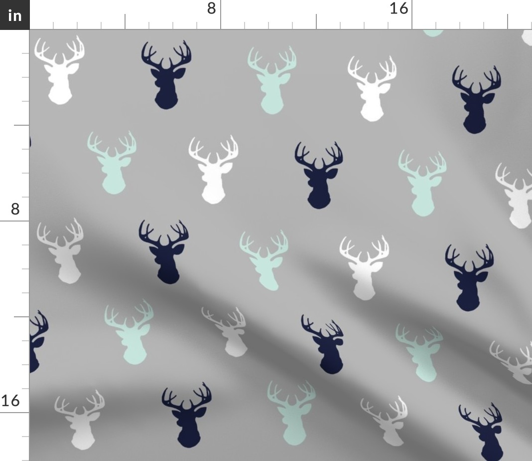 dinner cloth napkins grey with winter white deer heads