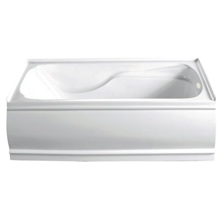 Aqua Eden 60-Inch Acrylic Alcove Bathtub with Right Hand Drain and Overflow Hole, White