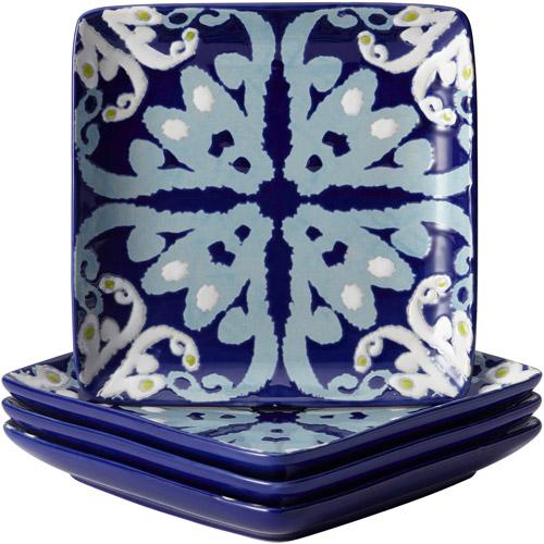 Rachael Ray Dinnerware Ikat 4-Piece Stoneware Appetizer Plate Set Blue Print - 58769  sc 1 st  Walmart & Rachael Ray Dinnerware Ikat 4-Piece Stoneware Appetizer Plate Set ...