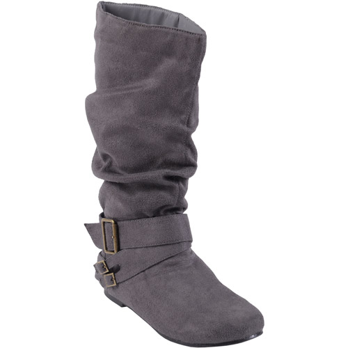 Brinley Co. Women's Slouchy Wide Width Boots with Side Accent Buckles