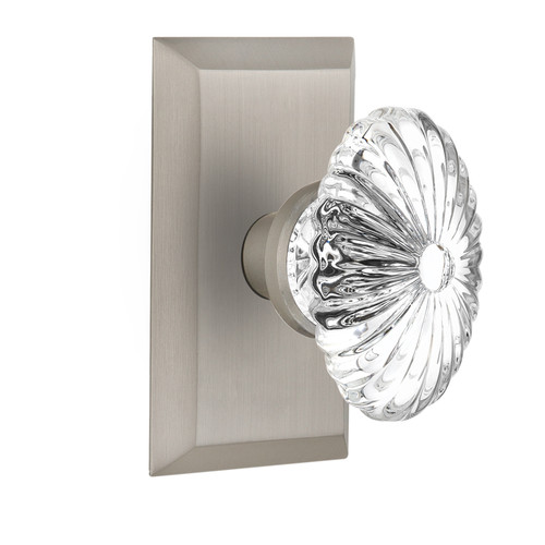 Nostalgic Warehouse Oval Fluted Crystal Glass Double Dummy Door Knob with Studio Plate