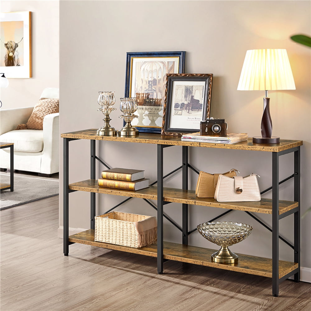 Yaheetech 113 inch Industrial Sofa Table with Storage Shelf, 13