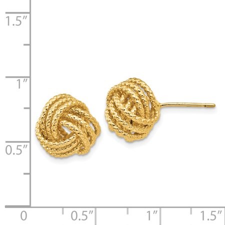 14K Yellow Gold Polished & Twisted Love Knot Post Earrings - image 1 de 2