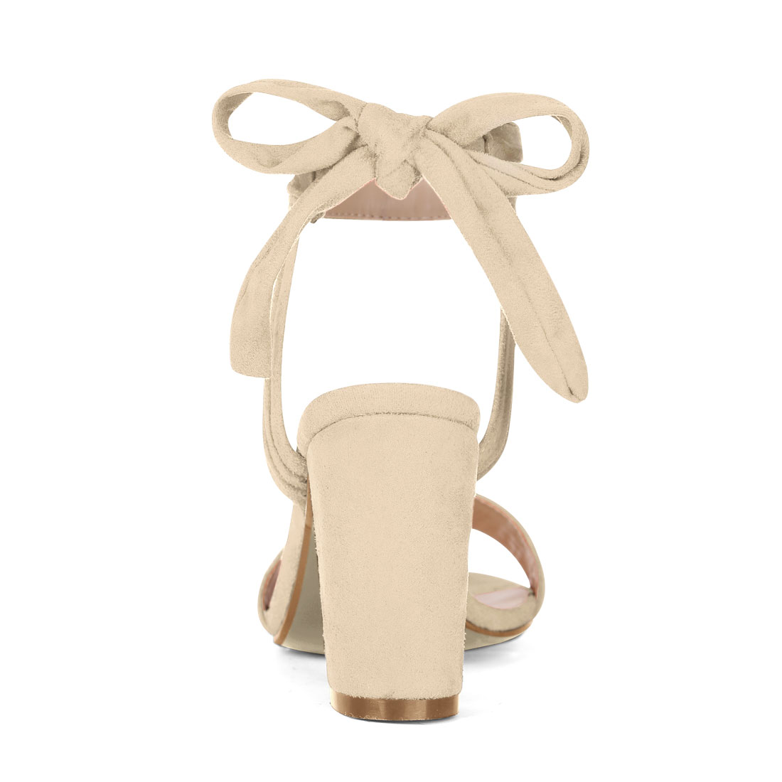 Unique Bargains Women's Ankle Tie Open Toe Block Heel Sandals Beige (Size 9.5) - image 4 of 7