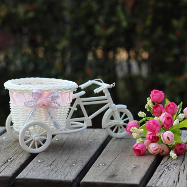Mosunx Large Rattan Tricycle Bike Flower Basket Vase Storage Party Decor C