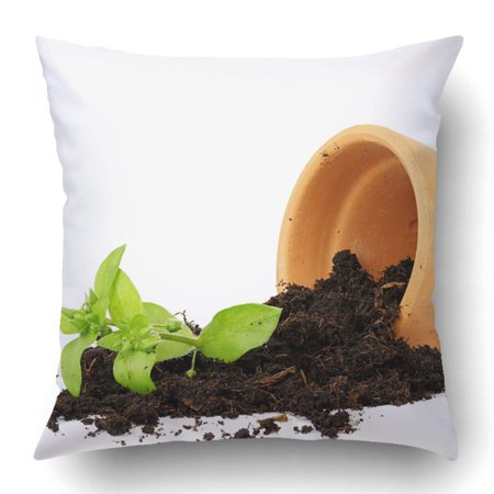 ARTJIA Flower Pot With Spilled Out Soil Isolated Damage Concept Pillowcase Pillow Cushion Cover 20x20 inch ()