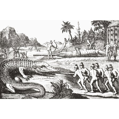 Image of Hunting alligators in the Southern States of America from an illustration in the 16th century book De Brys Travels From The Strand Magazine published 1897 Canvas Art - Ken Welsh Design Pics (17 x 11)